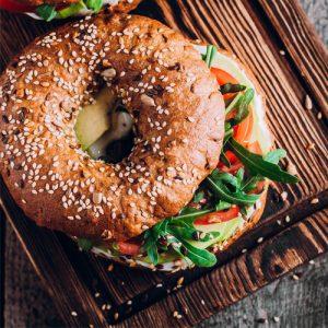 avocado salad bagel